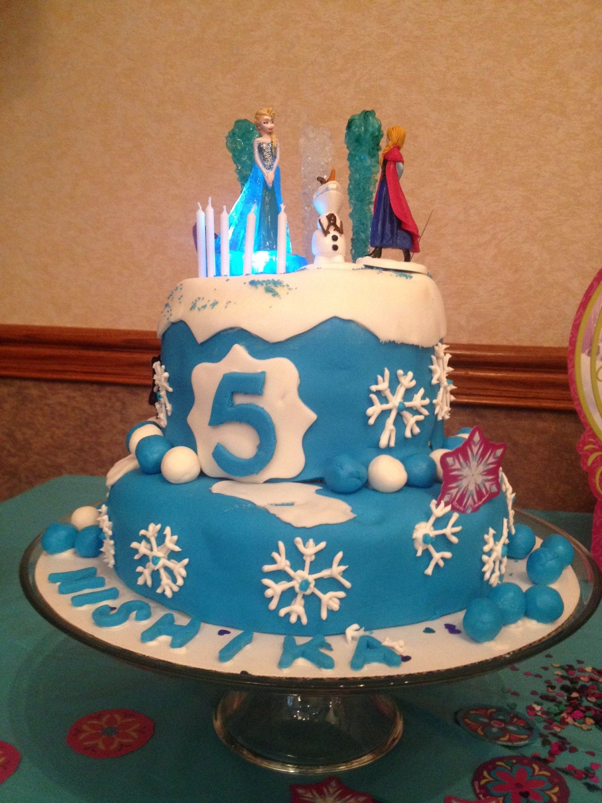 Birthday Cake For Amita : Frozen Themed Two Tiered Cake